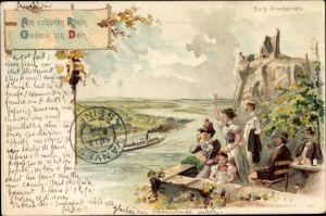 Künstler Litho Königswinter im Rhein Sieg Kreis, Blick auf die Burg Drachenfels, Besucher
