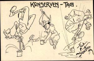 Künstler Ak Kristen, Rud., Konserven Tag, Kuk Soldaten beim Dosenöffnen, Soldatenhumor