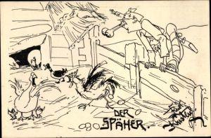 Künstler Ak Kristen, Rud., Der Späher, Kuk Soldat, Hühnerstall, Soldatenhumor