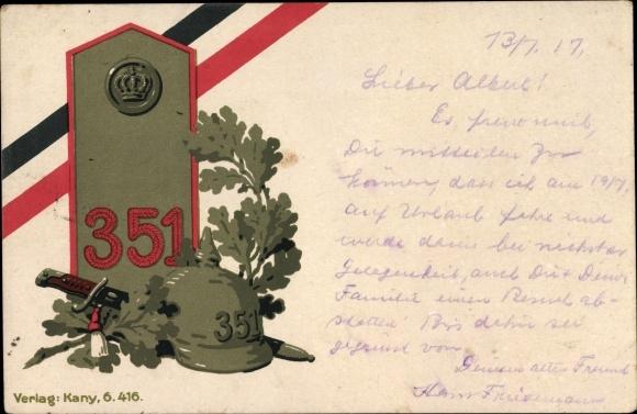 Litho Regiment 351, Schulterklappe, Pickelhaube, Eichenlaub, Messer