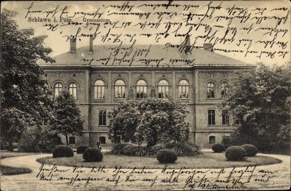 Ak Sławno Schlawe Pommern, Gymnasium, Vorgarten