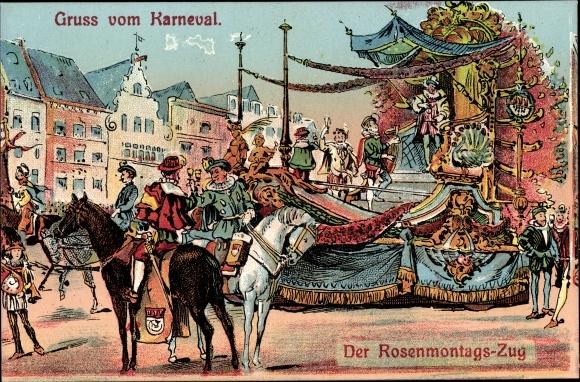 Künstler Ak Köln am Rhein, Kölner Karneval, Der Rosenmontagszug