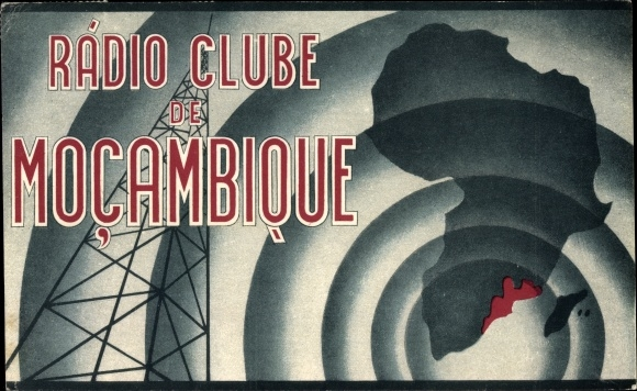 Ak Mosambik, Rádio Clube de Moçambique, QSL Karte, Funkerkennung, Sendemast, Landkarte