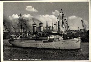 Ak Dampfschiff Oceana, HAPAG, In Hafenfahrt