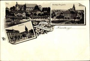 Litho Havelberg in Sachsen Anhalt, Dom, Havelberg vom Dom gesehen, Marktplatz