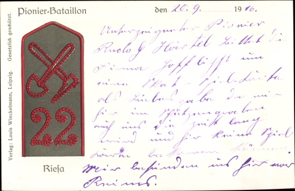 Ak Riesa an der Elbe Sachsen, Pionier Bataillon 22, Schulterklappe