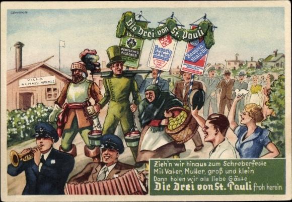 Künstler Ak Hamburg Mitte St. Pauli, Die Drei von St. Pauli, Bavaria und St. Pauli Brauerei