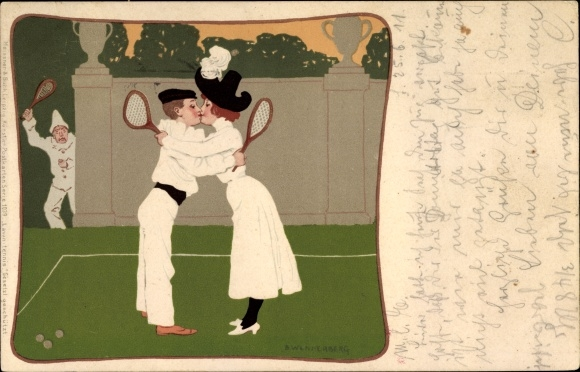 Passepartout Künstler Litho Wennerberg, Bruno, Tennisspieler, Liebespaar, Meissner Buch 1039