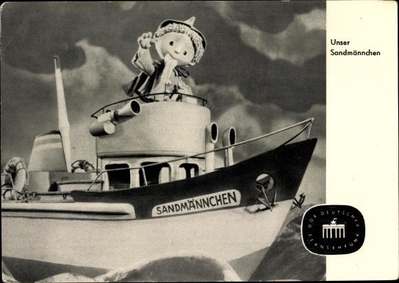 Ak Unser Sandmännchen auf einem Motorboot auf See, S 27/64