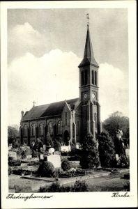 Ak Thedinghausen in Niedersachsen, Blick über den Friedhof zur Kirche, Grabsteine