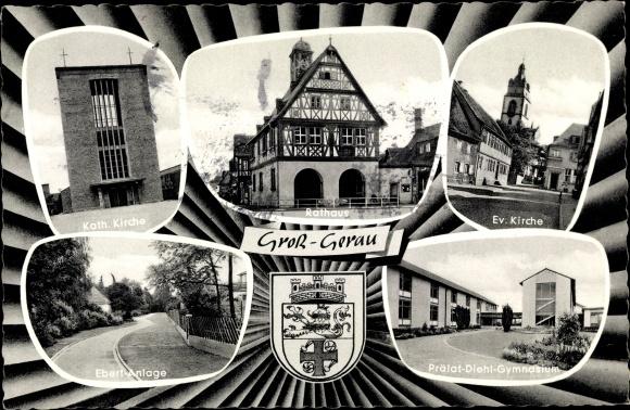 Passepartout Wappen Ak Groß Gerau in Hessen, Kirchen, Ebert Anlage, Rathaus, Gymnasium