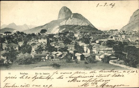 Ak Botafogo Rio de Janeiro Brasilien, Panorama vom Ort, Zuckerhut