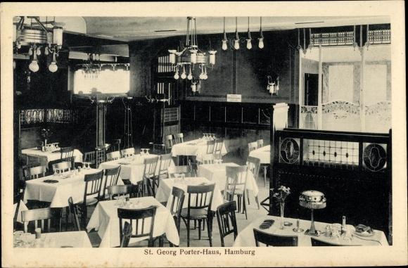 Ak Hamburg Mitte St. Georg, Blick in das St. Georg-Porter Haus von Wilhelm Hagel, Hachmannplatz 3