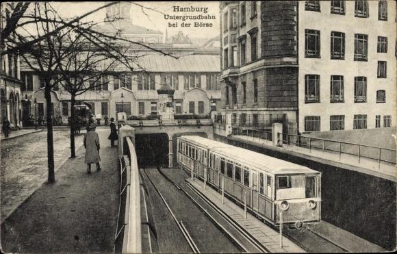 Ak Hamburg Mitte Altstadt, Untergrundbahn bei der Börse, U-Bahn, Tunnelausfahrt