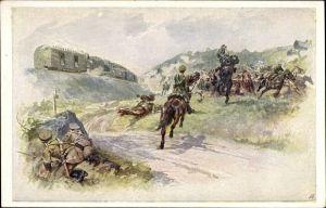 Künstler Ak Aus dem goldenen Buche der Armee, Kuk Panzerzug, Oberleutnant Friedrich Schober