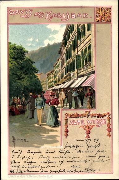 Künstler Litho Hawlicek, Karlovy Vary Karlsbad Stadt, Alte Wiese, Spaziergänger