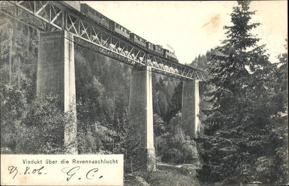 Ak Viadukt über die Ravennaschlucht, Eisenbahnbrücke, Dampflok