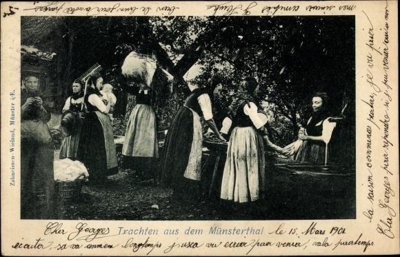 Ak Trachten aus dem Münstertal, Frauen in Volkstrachten