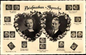 Briefmarken Ak Briefmarkensprache, Liebespaar, NPG 3972