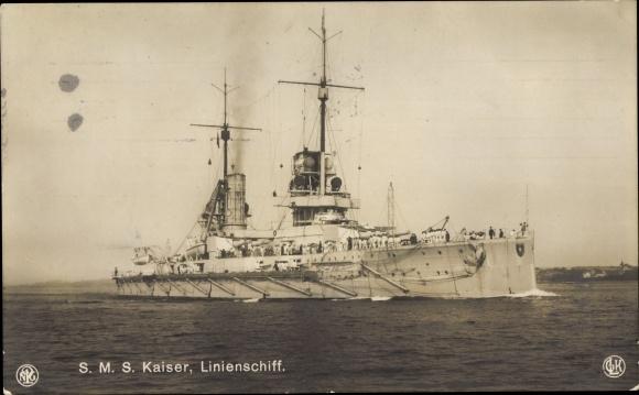 Ak Deutsches Kriegsschiff, SMS Kaiser, Linienschiff, Kaiserliche Marine