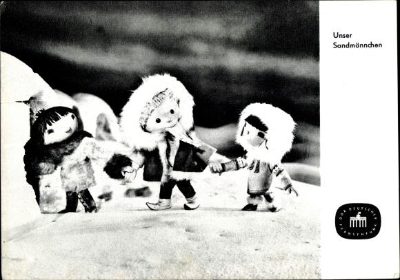 Ak Unser Sandmännchen, Sandmann, DDR Kinderfernsehen, Eskimos, S 50/65