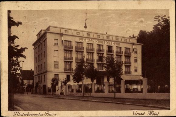 Ak Niederbronn Les Bains Bad Niederbrunnen Elsass Bas Rhin Grand Hotel