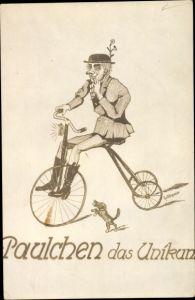 Künstler Ak Paulchen das Unikum, Dreirad, Hund