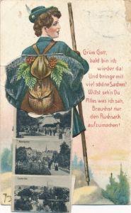 Künstler Leporello Ak Thiele, Arthur, Wandersfrau mit Rucksack, Bad Elster im Vogtland