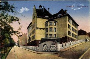Ak Lutherstadt Eisleben in Sachsen Anhalt, Oberrealschule, Straßenansicht
