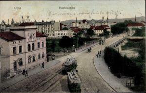 Ak Gera in Thüringen, Heinrichsbrücke, Straßenbahn
