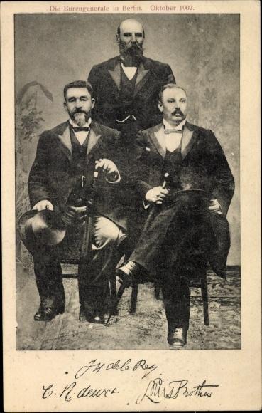 Ak Die Burengeneräle in Berlin, Oktober 1902, De Wet, De la Rey, Burenkrieg, Südafrika