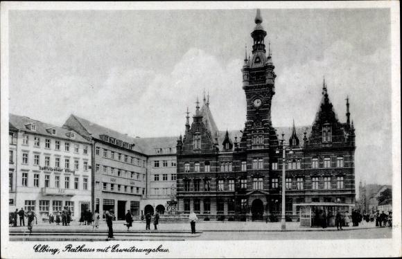 Ak Elbląg Elbing Westpreußen, Rathaus mit Erweiterungsbau