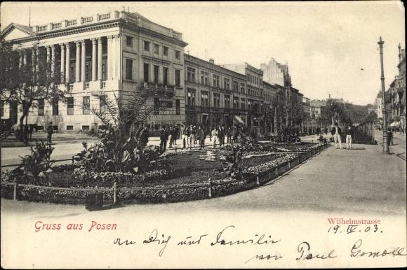 Ak Poznań Posen, Wilhelmstraße, Straßenpartie