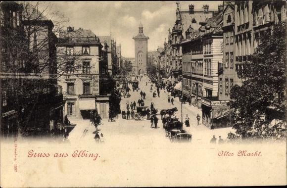 Ak Elbląg Elbing Westpreußen, Alter Markt, Straßenpartie