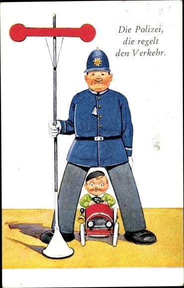 Künstler Ak Die Polizei, die regelt den Verkehr, Verkehrspolizist mit Anzeiger, Autofahrer