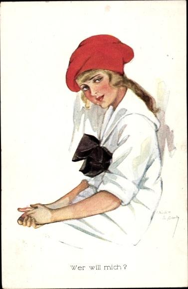 Künstler Ak Spark, Chicky, Wer will mich, Junge Frau mit roter Mütze, Schleife