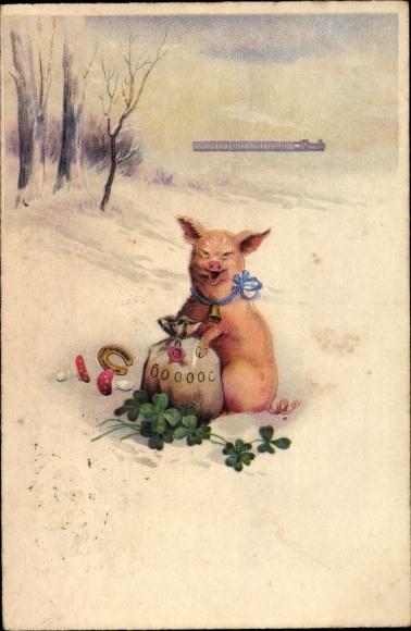 Litho Glückwunsch Neujahr, Schwein mit Geldsack, Kleeblätter, Fliegenpilze, Hufeisen