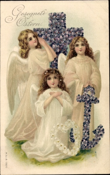 Präge Litho Glückwunsch Ostern, Engel mit Kreuz, Anker und Herz, Allegorie, Veilchen