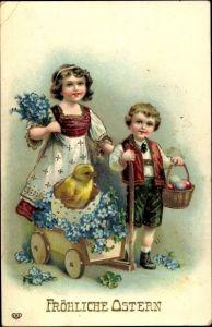 Präge Litho Glückwunsch Ostern, Küken in einem Handwagen, Kinder, Ostereier, Vergissmeinnicht