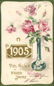 Präge Litho Glückwunsch Neujahr, Jahreszahl 1905, Rosen in einer Vase