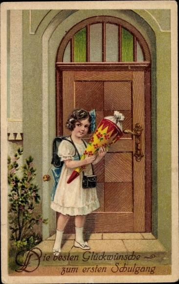 Präge Litho Glückwunsch Einschulung, Mädchen mit Zuckertüte beim ersten Schulgang