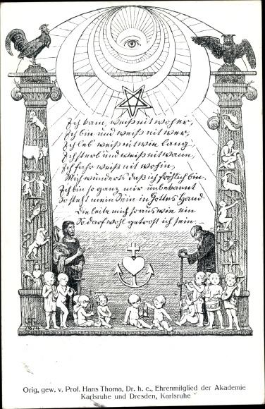 Künstler Ak Thoma, Hans, Ich kam, weiß nit woher, ich bin und weiß nit wer, Martinus von Biberach