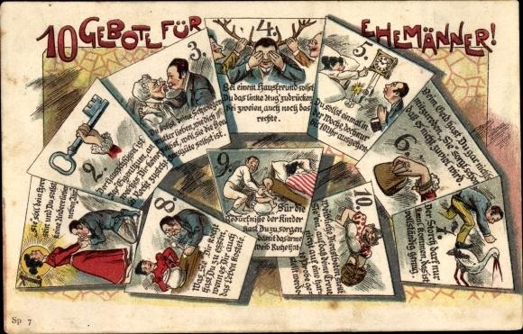 Litho 10 Gebote für Ehemänner, Sie soll dein Herr sein, Hausschlüssel