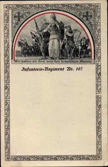 Passepartout Ak Infanterie Regiment Nr 107, Germania