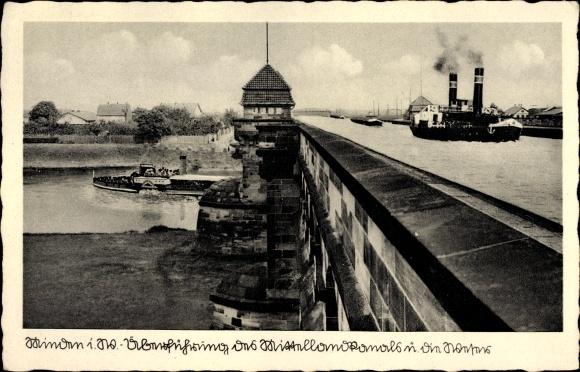 Ak Minden in Ostwestfalen Lippe, Überführung des Mittellandkanals über die Weser