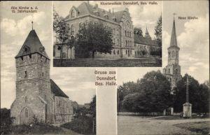 Ak Donndorf Thüringen, Alte Kirche, Klosterschule, Neue Kirche