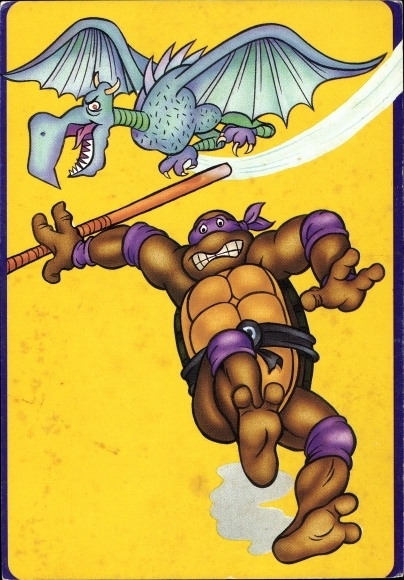 Künstler Ak Comic, Teenage Mutant Ninja Turtles, Drache, Schildkröte mit Kampfstab, Donatello