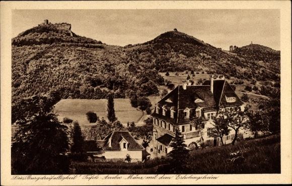 Ak Annweiler am Trifels im Kreis Südliche Weinstraße, Burgen Trifels, Anebos, Münz, Erholungsheim