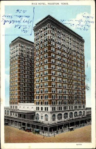 Ak Houston Texas USA, Rice Hotel, Straßenansicht des Gebäudes