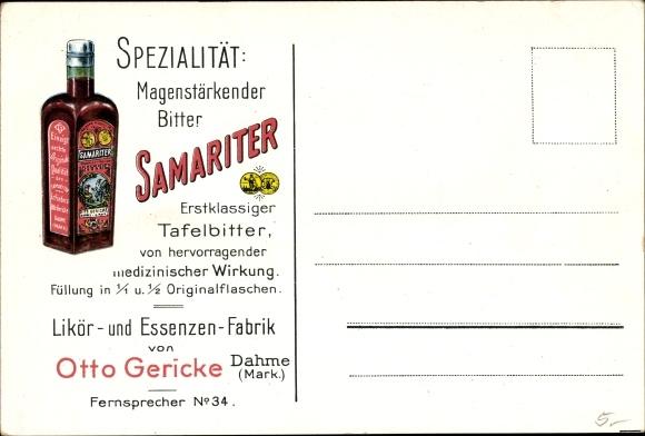 Ak Dahme in der Mark, Samariter Tafelbitter, Likör und Essenzen Fabrik von Otto Gericke, Reklame